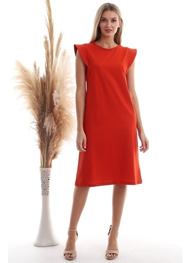 Cottonmood 20333416 Süprem Omuzu Telalı Elbise Cagla Yesil Kiremit